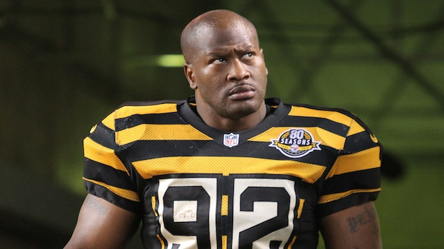 James Harrison wearing his yellow and black stripes