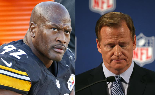 James Harrison and Roger Goodell walk into a room